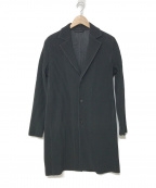 HOMME PLISSE ISSEY MIYAKE(オムプリッセイッセイミヤケ)の古着「プリーツデザイン3Bロングジャケット」 ブラック
