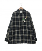 doublet(ダブレット)の古着「PUPPET ANIMAL EMBROIDERY CHECK」 ネイビー