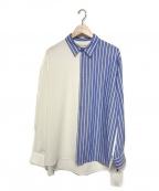 CULLNI(クルニ)の古着「21S/S ブロッキングストライプシャツ」 ホワイト×ブルー