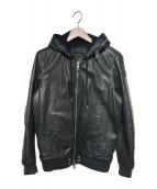DIESEL(ディーゼル)の古着「フーデッドレザージャケット」|ブラック