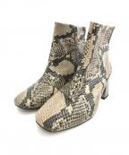 carmen salas(カルメンサラス)の古着「パイソン柄ブーツ」 グレー
