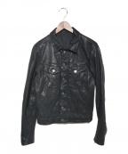 NUDIE JEANS(ヌーディジーンズ)の古着「ラムレザートラッカージャケット」|ブラック