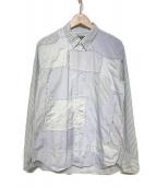 ()の古着「パッチワークストライプシャツ」|スカイブルー