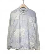 COMME des GARCONS HOMME DEUX(コムデギャルソン オム ドゥ)の古着「パッチワークストライプシャツ」|スカイブルー