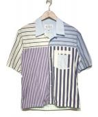 ()の古着「19S/S パッチワークシャツ」 スカイブルー