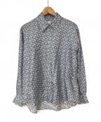 BURBERRY LONDON()の古着「TBモノグラムプリントシルクオーバーサイズシャツ」 スカイブルー