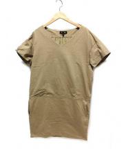 DRAWER(ドゥロワー)の古着「Vネック半袖カットソーワンピース」|ベージュ