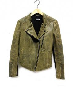 FRANCIS LEON(フランシスレオン)の古着「切替レザーダブルライダースジャケット」|カーキ