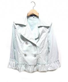 M'S GRACY(エムズ グレイシー)の古着「フリルダブルコート」|スカイブルー
