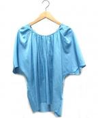 The SECRETCLOSET(ザシークレットクローゼット)の古着「シルクカシミヤ混半袖ブラウス」|スカイブルー