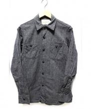 FREEWHEELERS(フリーホイーラーズ)の古着「チンストラップ付長袖ワークシャツ」|グレー