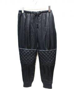 DRAWER(ドゥロワー)の古着「中綿シルクバイカージョガーパンツ」|ブラック