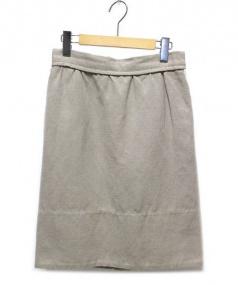 DRAWER(ドゥロワー)の古着「リネン混コットン膝丈スカート」|ブラウン