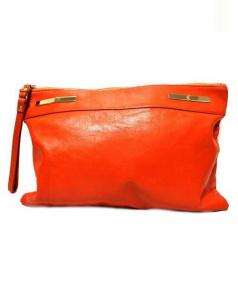 selvedge(セルヴィッジ)の古着「レザークラッチバッグ」|オレンジ