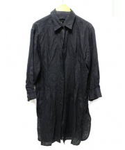MaxMara(マックスマラ)の古着「バックギャザー長袖リネンシャツチュニック」|ブラック
