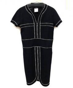 CHANEL(シャネル)の古着「半袖コットンニットワンピース」|ブラック×ホワイト