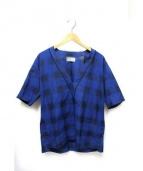 juha(ユハ)の古着「ノーカラーVネックシャツ」 ブルー