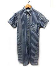Engineered Garments(エンジニアードガーメンツ)の古着「半袖シャツワンピース」|ブルー
