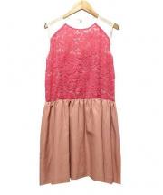 Laula(ラウラ)の古着「ドッキングレースワンピース」|ピンク