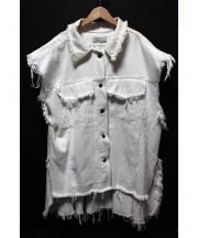 PONY STONE(ポニーストーン)の古着「ノースリーブオーバーサイズデニムジャケット」|ホワイト