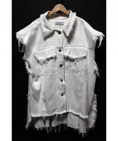 PONY STONE(ポニーストーン)の古着「ノースリーブオーバーサイズデニムジャケット」 ホワイト