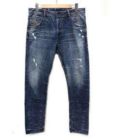 DIESEL(ディーゼル)の古着「ダメージデニムパンツ」|ブルー