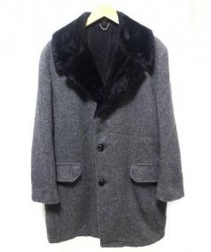 TENDERLOIN(テンダーロイン)の古着「ボア付ウールコート」|グレー