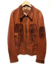 DOLCE & GABBANA(ドルチェ&ガッバーナ)の古着「ゴートスキンレザージャケット」|ブラウン