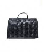 FALORNI(ファロルニ)の古着「イントレチャートレザーショルダーバッグ」|ブラック
