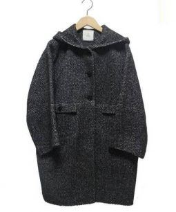 Adam et Rope(アダムエロペ)の古着「フーデッドコート」 ブラック