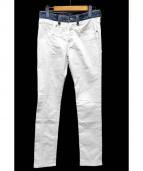 jonnlynx(ジョンリンクス)の古着「デニム切替スキニーパンツ」|ホワイト