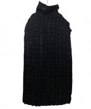 ISSEY MIYAKE(イッセイミヤケ)の古着「ボトルネックプリーツワンピース」|ブラック