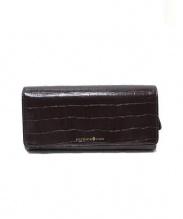 PATRICK COX(パトリックコックス)の古着「クロコ型押しレザー長財布」|ブラウン