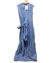 MADISON BLUE(マディソンブルー)の古着「リネン混マキシ丈ノースリーブワンピース」|ブルー