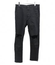 daniel patrick(ダニエルパトリック)の古着「ダメージ加工デニムパンツ」|ブラック