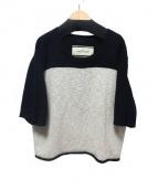 BY MALENE BIRGER(バイ マレーネ ビルガー)の古着「リネン混半袖ニット」|ブラック×アイボリー
