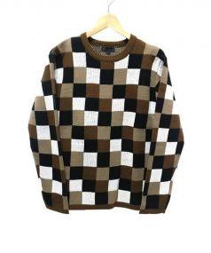 RICORZO(リコルゾ)の古着「チェックニット」|ホワイト×ブラウン
