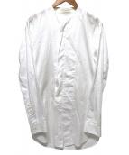 JULIUS(ユリウス)の古着「ノーカラーロングシャツ」 ホワイト
