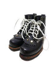 DAYTONA(デイトナ)の古着「スタッズフォルスタン付ブーツ」 ブラック×ホワイト