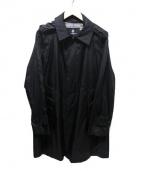Aquascutum(アクアスキュータム)の古着「ナイロンステンカラーコート」|ブラック