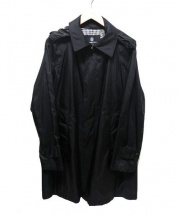 Aquascutum(アクアスキュータム)の古着「ナイロンステンカラーコート」 ブラック