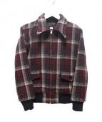 ATLAST & CO(アットラスト)の古着「プレイドジャケット」|レッド×グレー