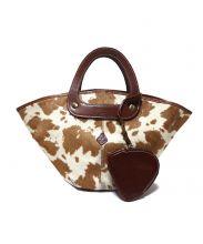 CLEDRAN(クレドラン)の古着「ハラコ切替ハンドバッグ」|ブラウン