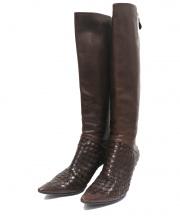 BOTTEGA VENETA(ボッテガベネタ)の古着「イントレチャートロングブーツ」 ブラウン