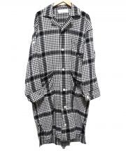 PHINGERIN(フィンガリン)の古着「ロングシャツ」 ブラック×ホワイト