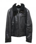 liugoo leathers(リューグーレザーズ)の古着「襟ボアライダースジャケット」 ブラック