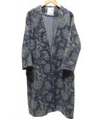 BEARDSLEY(ビアズリー)の古着「ジャガードプリントコート」|ネイビー