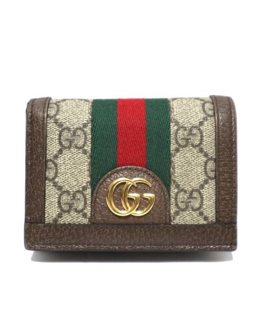 GUCCI(グッチ)GUCCI (グッチ) 2つ折札入れ ベージュ GG 523155 496334 オフィディア シェリーラインの古着・服飾アイテム