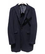 COMME des GARCONS HOMME PLUS(コムデギャルソンオムプリュス)の古着「ロングテーラードジャケット」 ネイビー
