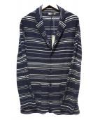 BOGLIOLI(ボリオリ)の古着「コットンリネンボーダーニット3Bジャケット」